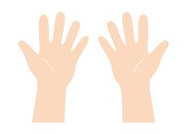 1回(1日)の注入で打てる量 両手のひらサイズ図